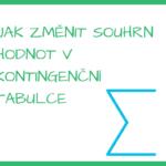 Jak změnit souhrn v kontingenční tabulce